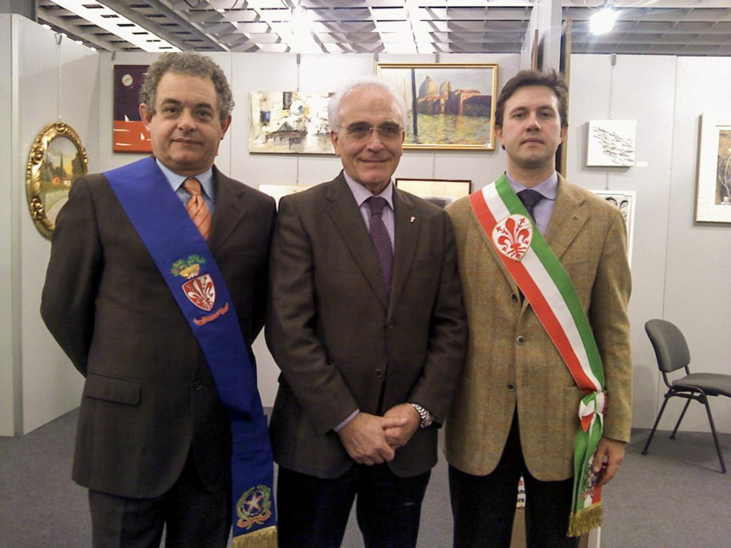 Antoine Gaber Artwork exhibited during the Fiorgen fundraising for cancer research, in Florence Italy. From Left to right Mr.Galgani, Mr. Nardella and Mr. Barducci