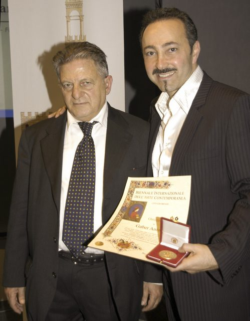 """Prof. Pasquale Celona, President of the Florence Biennale, awarded Antoine Gaber with the prestigious Prize of the """"Lorenzo il Magnifico"""", in recognition of Gaber's International artistic and social fundraising initiative """" Passion for Life"""" in support of cancer research."""