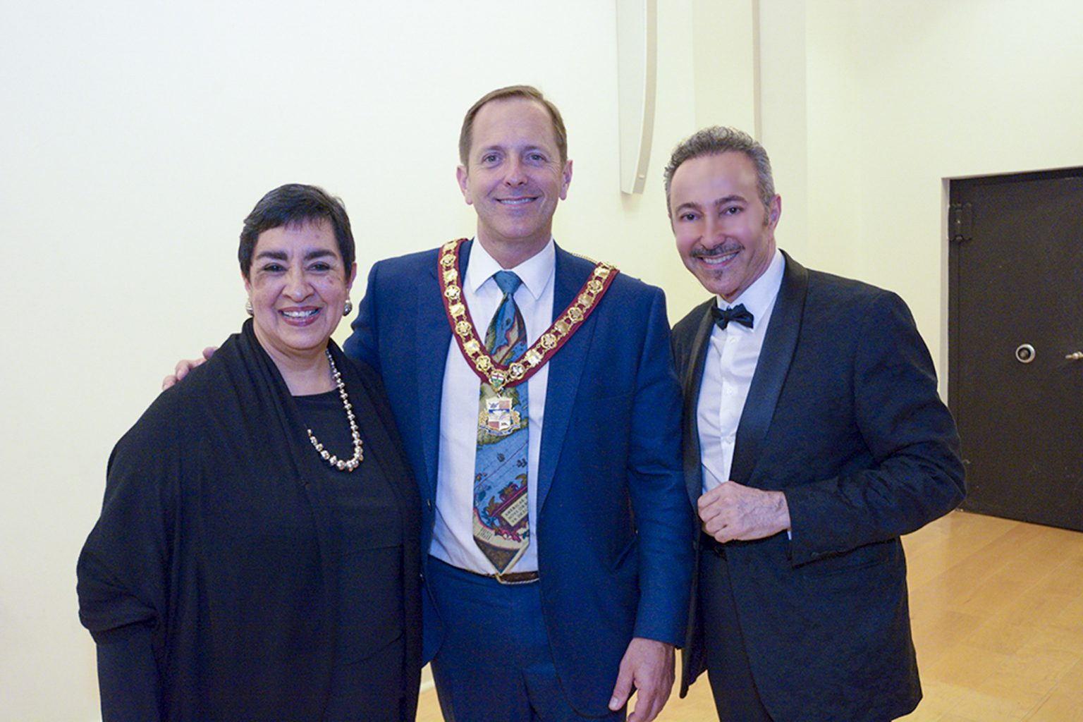The Patron of the Water for Life, International Art Exhibition, First Edition, the Mayor of Niagara Falls, Jim Diodati, wih Angelina Herrera and Antoine Gaber during the opening.