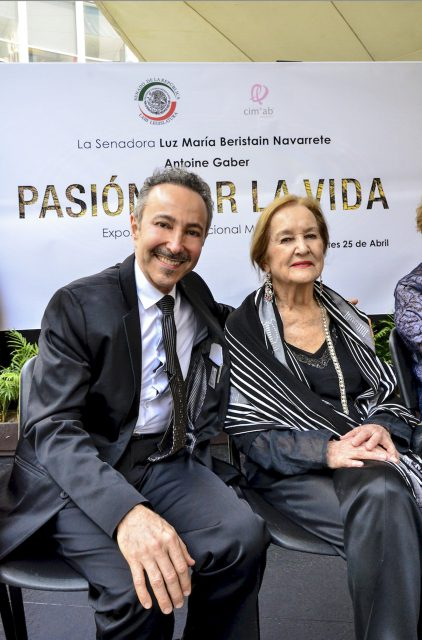 """Antoine Gaber with the Famous famous artist and muralist painter Rina Lazo  during the opening of the Antoine Gaber, """" PASSION FOR LIFE """", International Solo Art Exhibition Mexico 2017, at the Senate of the Republic of Mexico, México City, México."""