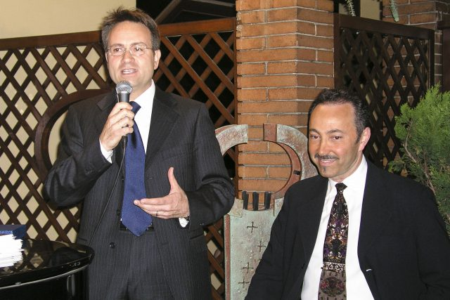 """Alessandro Benedetti, Secretary of the Fondazione Meyer with Antoine Gaber, during his """"Passion for Life"""", Solo Exhibition at the Grand Hotel Baglioni in Florence, Italy."""