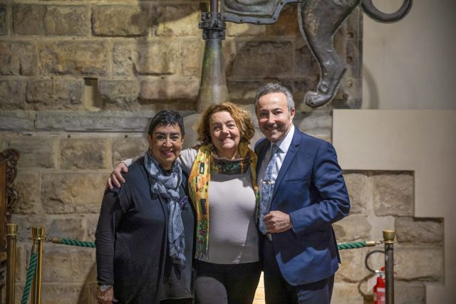 """""""Water for Life"""" Children and Adolescent Art Workshop Exhibition, at the Palazzo Vecchio, Salone Dei 500 , in Florence, Italy. Angelina Herrera, Susanna Agostini, President of the Commission of Rights, City of Florence, and Antoine Gaber Artistic Director."""