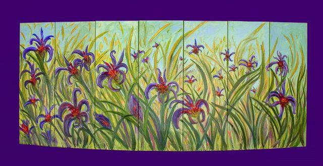 """Antoine Gaber en la Bienal Internacional de Arte Contemporáneo, en Florencia, Italia 2005 frente a su obra convexa, """"Field of Wild Mauve Irises"""""""