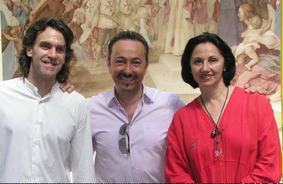 Directors of the Florence Dance Festival, renowned Prima Ballerina Etoile dancer Marga Nativo and well-known choreographer Keith Ferrone at the Villa Medicea della Petraia during the rehearsal of the very specially created choreography incorporating Gaber Fashion line.